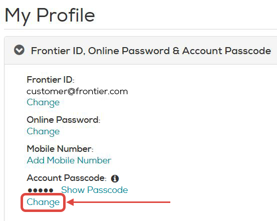 In the Frontier ID, Online Password & Account Passcode section, click Change beneath the Account Passcode section.