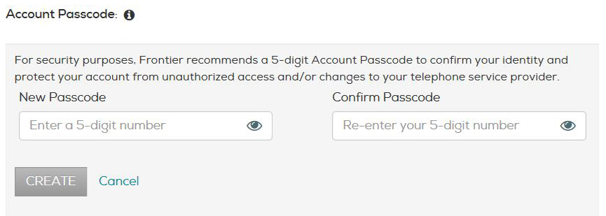Enter any 5-digit number in the New Passcode field and type it again in the Confirm Passcode field.