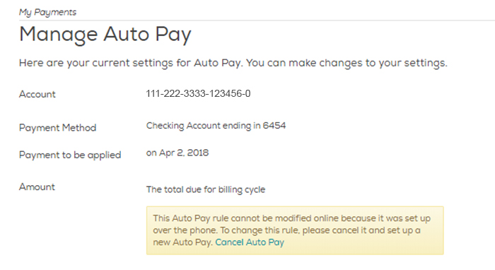 Manage your Auto Pay settings