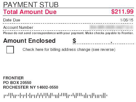 payment stub showing mailing address