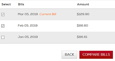 Click the checkboxes to select 2 bills. Then click the Compare Bills button.