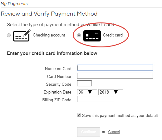 Add a credit or debit card as your payment method