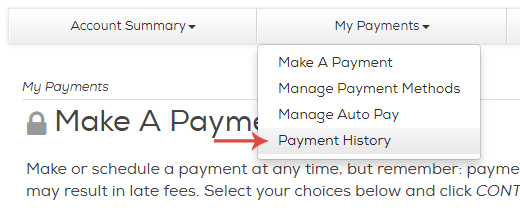Click My Payments in My Account and then click Payment History.