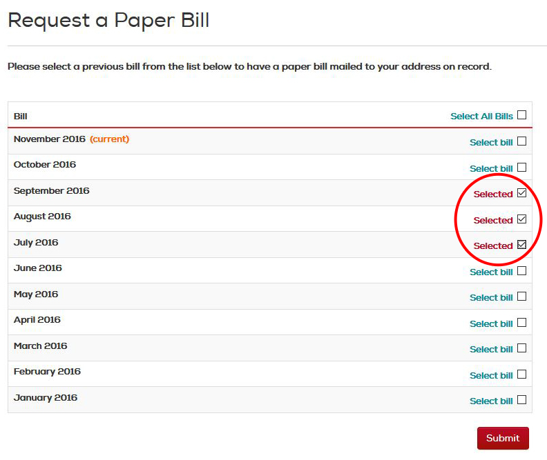 select bills to receive by mail - when not logged into your account