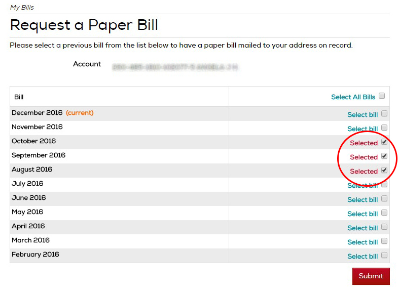 select the bills you would like to receive by mail