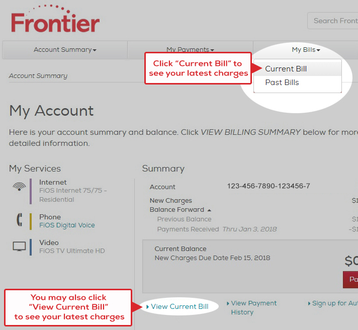 To review your bill click Current Bill or View Billing Summary on the My Account Screen.