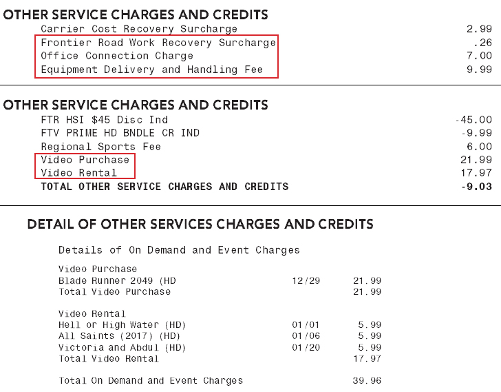 What Are One Time Charges And Credits Frontier
