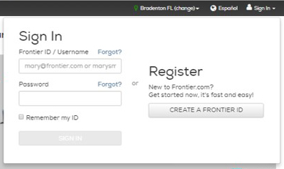 "Click ""Create a Frontier ID"" to begin"